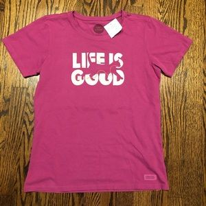 🔴 5 for $25 🔴 Life is good pink cat tee